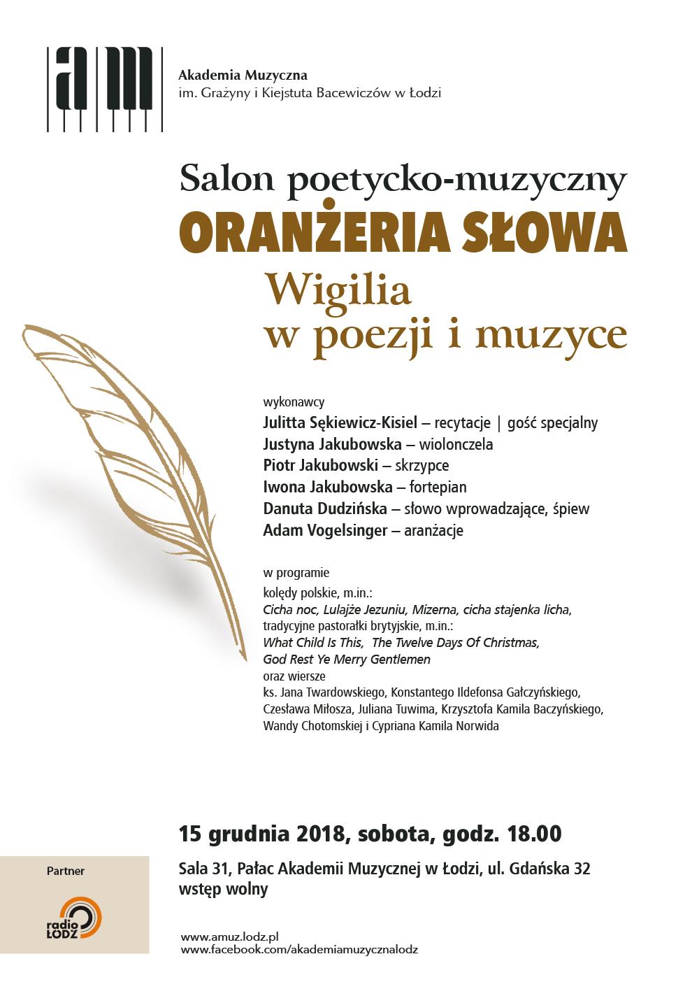 Akademia Muzyczna W łodzi Oranżeria Słowa Salon Poetycko